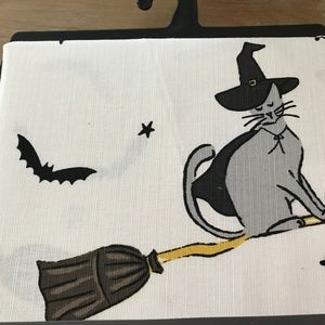 Halloween Flying Witch Cat Bats Shower Curtin New